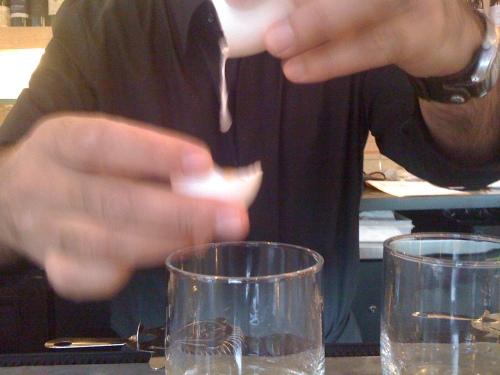 my bartender Gene doing the egg honors