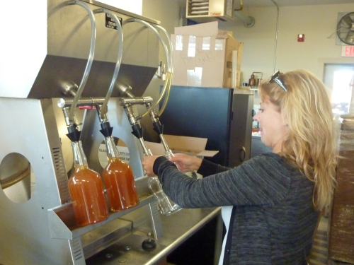 working the bottling machine