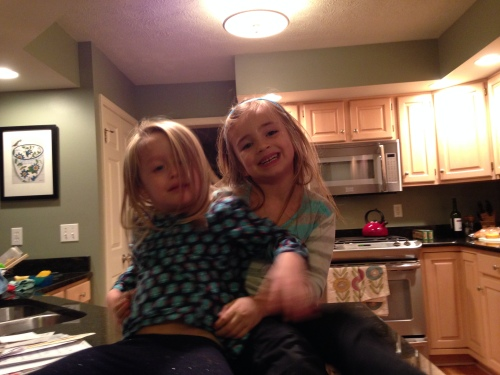 Here are her girls being squirrely on the kitchen counter.