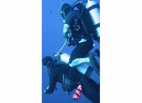 The crew had fun underwater, too.  This is Joel riding JJ.  I would join these two clowns 6 months later for some Cenotes diving.