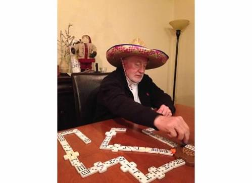 We played quite a bit of Mexican or Train Dominoes while we were there.  No one could explain the name to me.  In case it wasn't offensive enough, we added a sombrero to the mix.