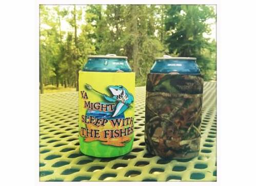 We found some awesome coozies at the grocery store.  Mine is the one with the shark (of course).  The full message is: If ya messin with my drink, ya might sleep with the fishes.  Odd threat in land-locked CO.