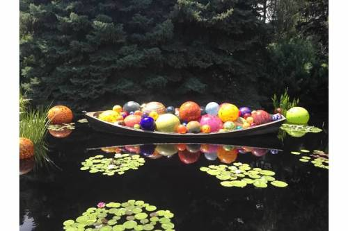 That afternoon, we went to the Denver Botanic Gardens, where a Chihuly exhibit was going on. He's known for his glass work and the installation was seamlessly throughout the gardens.
